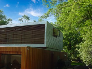 Metal flat seam panels siding on a house in New Canaan, CT