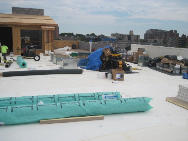 New construction with white EPDM roof in Stamford CT