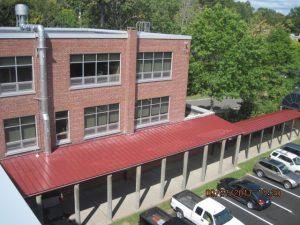 Metal roof at school in Stamford