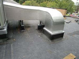 new duct and sleepers added to an EPDM roof